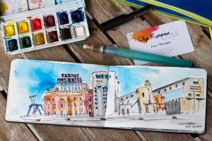 urban sketcher watercolour montreal